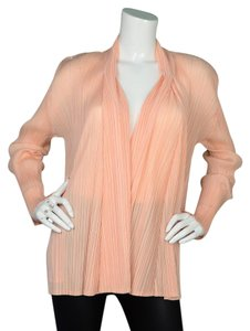 Pleats Please Micro Pleat Cardigan Silk Open Peach Jacket