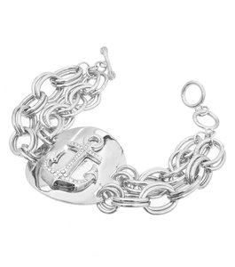 Other Rhinestone and Crystal Nautical Anchor Charm Chain Link Bracelet