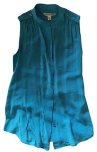 Banana Republic Silk Sleeveless Date Night Summer Top Turquoise Gem