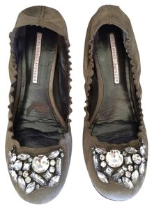 Vera Wang Lavender Label Sparkle Suede Brown Flats