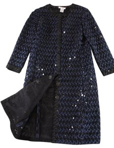 Oscar de la Renta 3-d Ribbon Sequin Coat Black / Navy Jacket