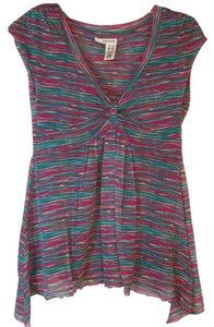 DKNY Asymmetrical Turquoise Pullover Striped Top Fuchsia