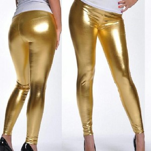 Wet Seal Wet Look Shiny Metallic Rock Gold Leggings