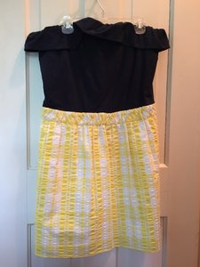 Lilly Pulitzer short dress Yellow & White Gingham and Navy Strapless on Tradesy