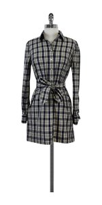 Brooks Brothers Blue & Grey Plaid Wool Shirt Dress