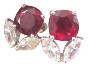 Other 18Kt Gem Ruby Diamond White Gold Stud Earrings VERY FINE RUBY 2.72CT