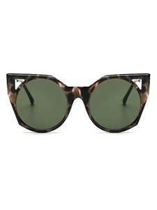 Other Multicolor Tortoise Green Lens Round Cat Eye Sunglasses