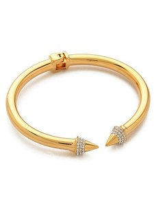 Other Gold Pave Stone Open Ended Cuff Bracelet