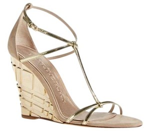 Burberry Leather Open Toe Striped Beige/Gold Sandals