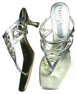 White House | Black Market Kitten Heel Wedding With Box Shiny Slip On Silver Sandals
