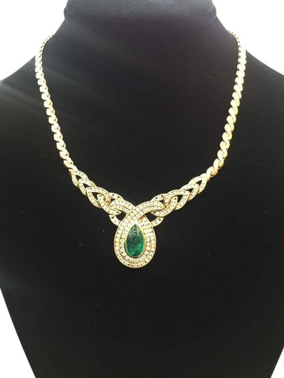 Other 18Kt Gem Green Colombian Emerald Diamond Yellow Gold Italy Necklace 16