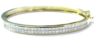 Other 18Kt Invisible Set Princess Cut Diamond Yellow Gold Bangle 4.33CT 2.25