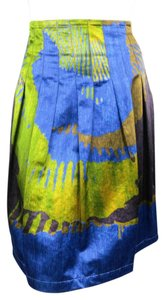 Etro A-line Pleated Abstract Multi-color Italian Skirt Green