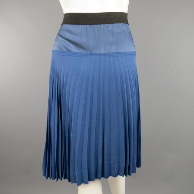 Marc Jacobs Twill Satin Pleated A-line Panel Skirt Blue