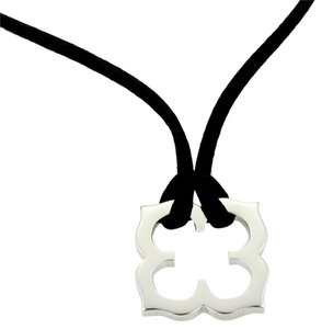 Cartier Cartier Hindu 18k White Gold Floral Pendant Black Silk Cord Necklace