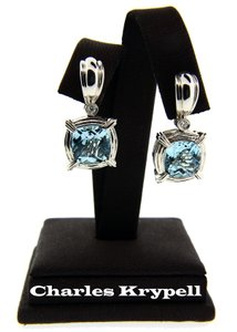 Charles Krypell Charles Krypell .12ct diamond & 11.74ct Blue topaz earrings in 18K Whi