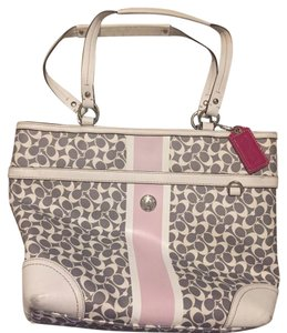 Coach Tote in gray/ white/ pink