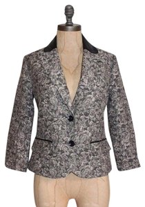 Anthropologie Willow & Clay Brocade Floral Faux Leather Neck GRAY Blazer