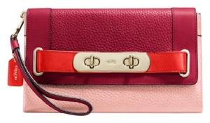 Coach Color-blocking Leather Pink and Burgundy Clutch