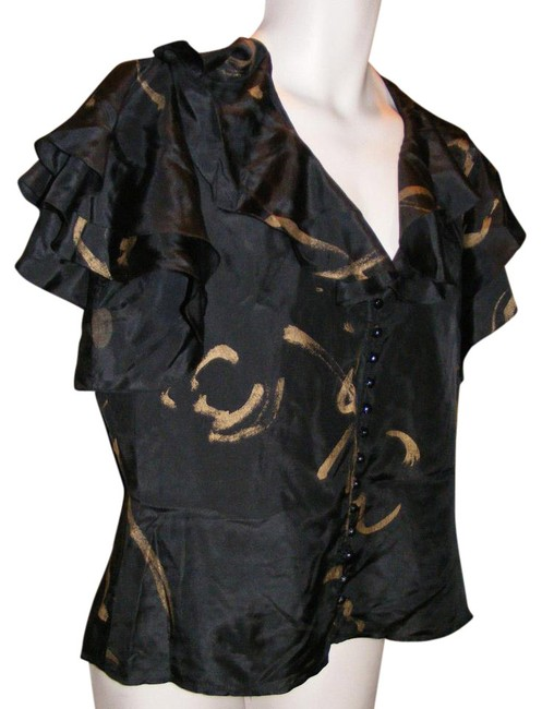 Item - Black & Gold Silk Paintbrush Swishes Blouse Size 14 (L)