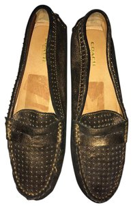 Coach Black & Metallic Gold Flats