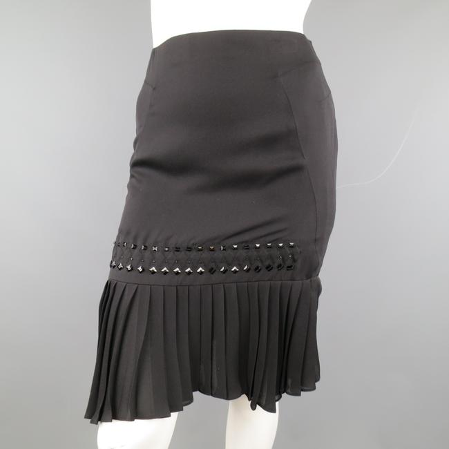 Gucci Beaded Silk Pleated Pencil Italian Skirt Black