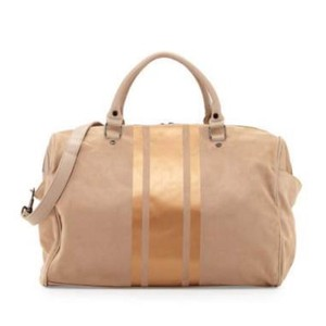 Neiman Marcus taupe and gold Travel Bag