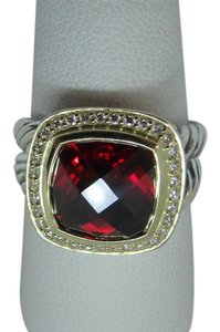 David Yurman 11mm x 11mm Albion Ring with Garnet and Diamonds with 18K Gold