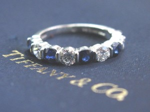 Tiffany & Co. Tiffany & Co Platinum Diamond Sapphire Bar Setting Band Ring 9-Stone 1