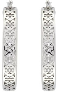 Tory Burch Tory Burch Large KINSLEY HOOP EARRINGS SILVER