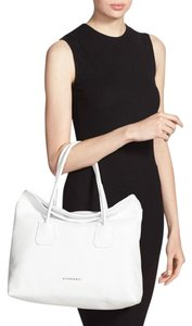 Burberry Leather Check Baynard Tote in white