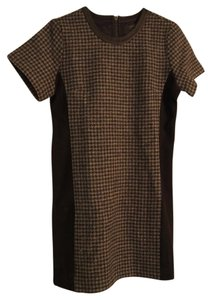 J.Crew Leather Trim Houndstooth Mixed Media Dress