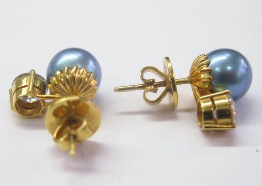 Other 18Kt Blue Pearl Diamond Stud Earrings Yellow Gold 9mm 1.40CT