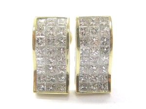 Other 18Kt Princess Cut Invisible Diamond Earrings Yellow Gold 5.28CT