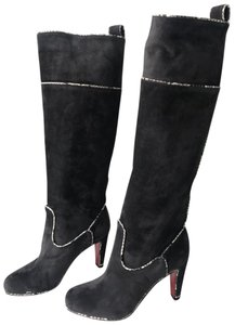 Christian Louboutin New Dark Gray/grey Watersnake Trim Dark Gray/Charcoal Boots