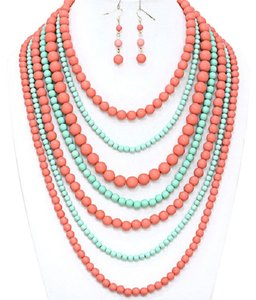 Fashion Statement Multi Strand MultiLayer Mint Green Peach Coral Bead Bib Collar Necklace And Earring