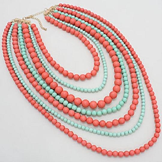 Other Fashion Statement Multi Strand MultiLayer Mint Green Peach Coral Bead Bib Collar Necklace And Earring