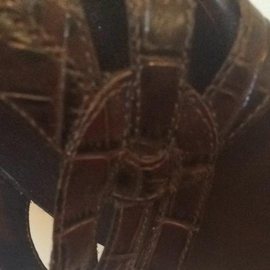 Etienne Aigner Dark Brown With Alligator Skin Embossing Sandals