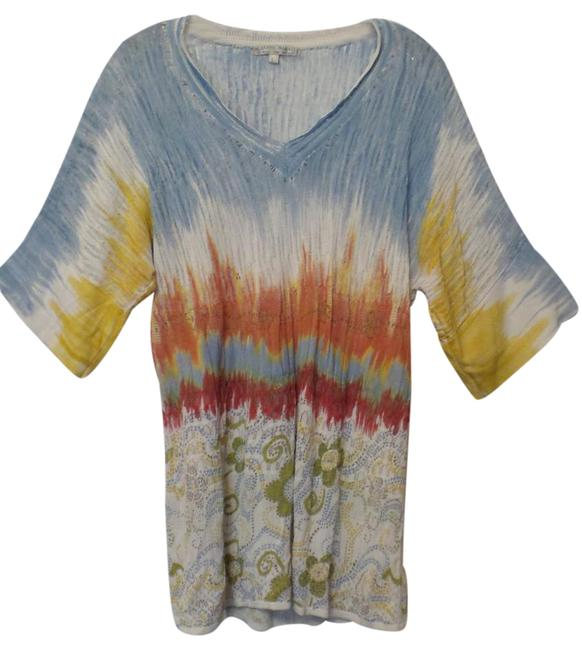 Preload https://img-static.tradesy.com/item/20989276/alberto-makali-white-w-blue-orange-yellow-green-lightweight-mixed-knit-oversized-long-loose-tunic-sw-0-1-650-650.jpg