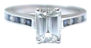 Other Fine Emerald Cut Diamond Sapphire White Gold Engagement Ring 18KT EGL