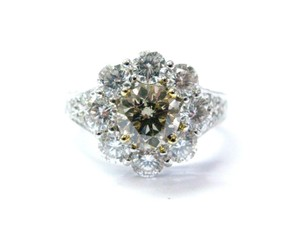 Other 18Kt Round Cut Diamond Flower Champagne Anniversary Ring WG 2.96CT