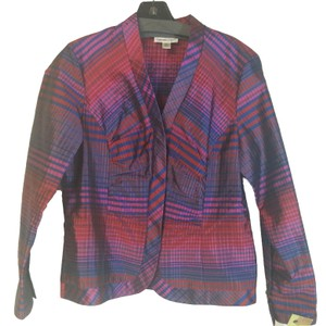 Coldwater Creek Jacket Plaid Top Fuchsia and Blue
