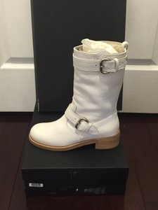 Giuseppe Zanotti Riding Pebble Leather Pull On Buckle Swarovski Crystals White Boots