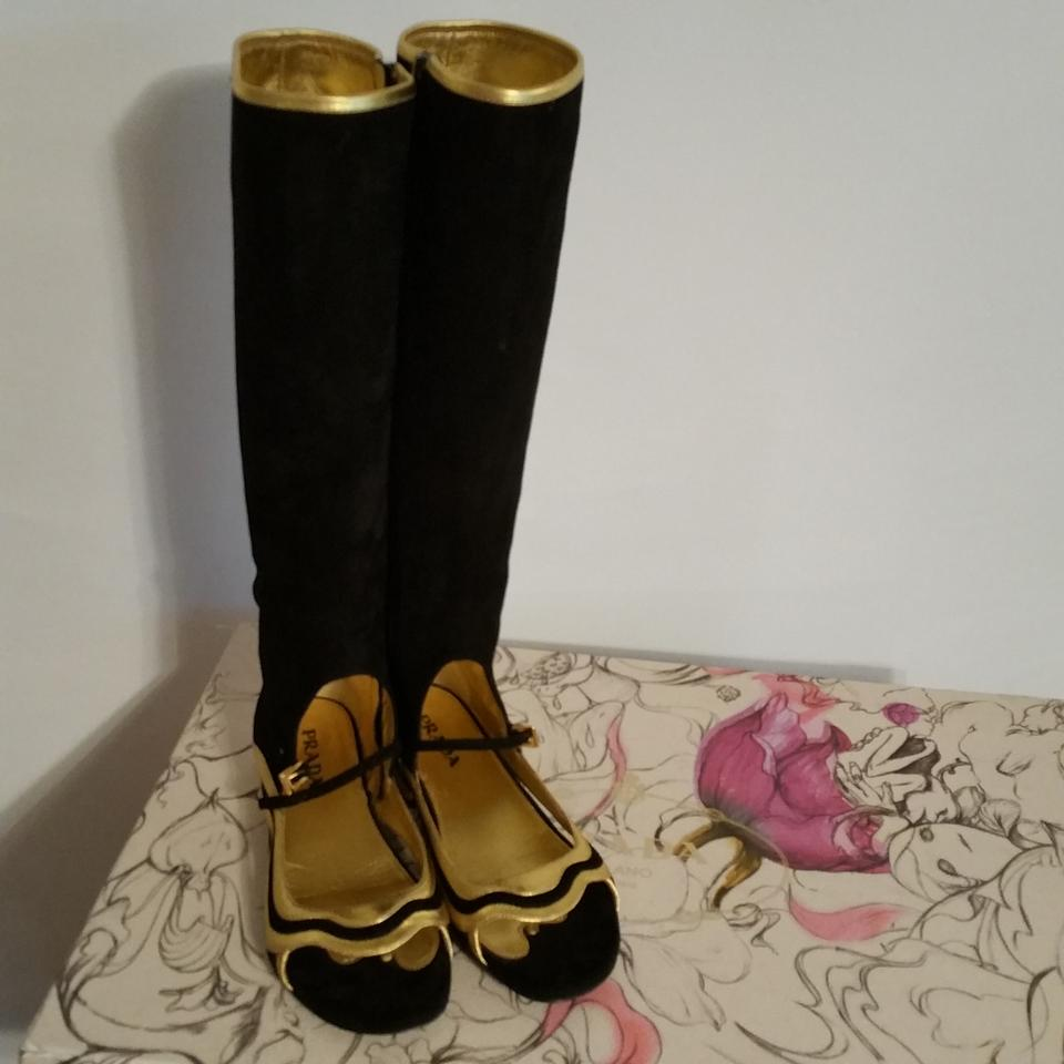 f41d645c3a1 Prada Black Gold Open Toe Knee High Suede Black Gold 5 Boots Booties ...