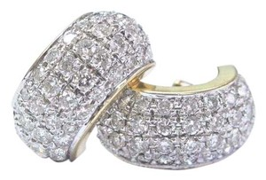 Other Fine Round Cut Diamond Pave 14Kt Yellow Gold Huggie Earrings 80-Stones