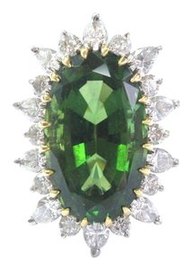 Other 18Kt Green Tourmaline & Diamond Yellow Gold Jewelry Ring 17.20Ct E-F/V