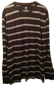 Old Navy Plus-size Casual Warm Thermal Winter T Shirt Striped Black and Gray