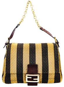 Fendi Pequin Striped Tobacco Leather Fabric Shoulder Bag