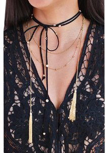 Other Black Gold Crystal Stone Tie Choker Necklace
