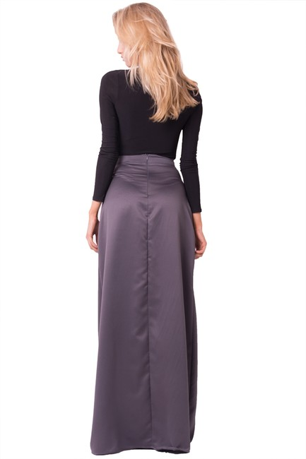 Other Glam Long Long Side Slit Wedding Maxi Skirt Charcoal